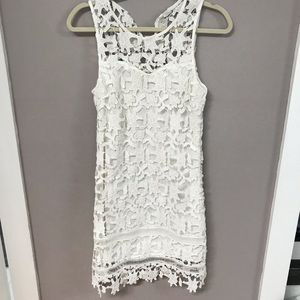 Francesca's White crochet bridal shift dress nwot